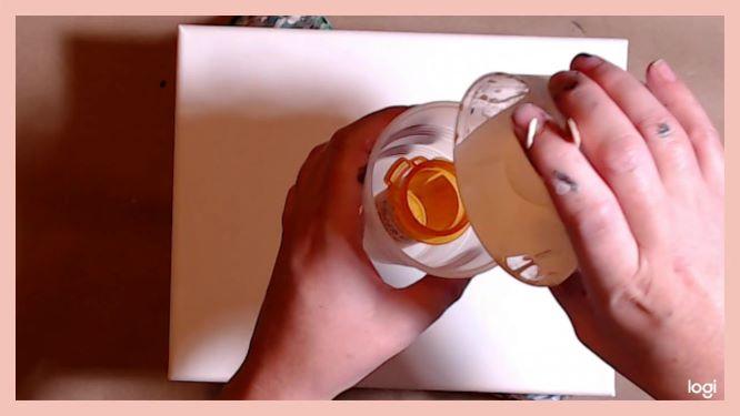 split-cup pour in progress