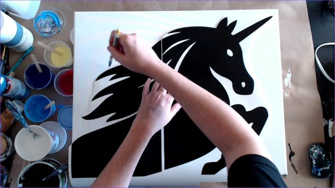 trace the mane of your unicorn onto the canvas