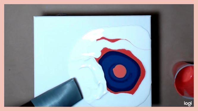 puddle pour dutch pour painting in progress