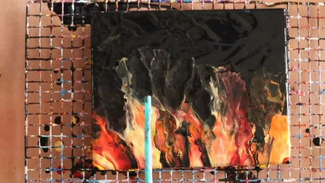 Dutch Pour Fire painting in progress step-by-step