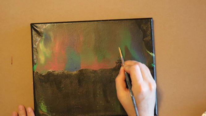 northern lights painting in progress