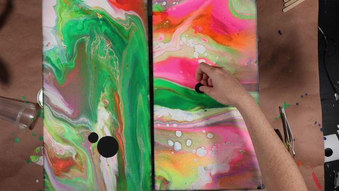 black canvas painting in progress