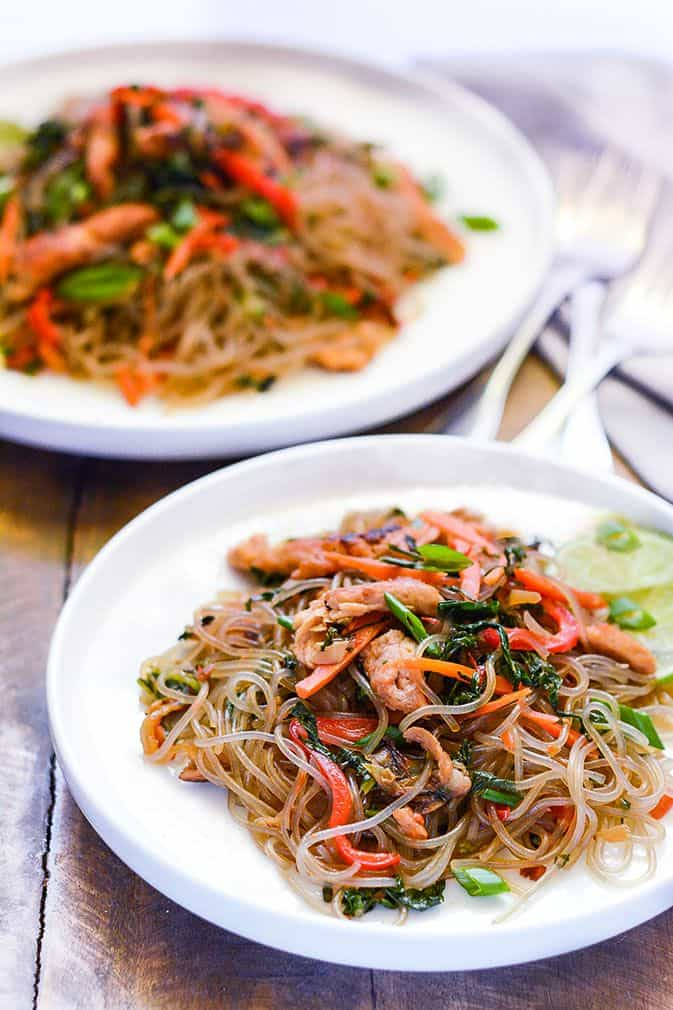 Japchae (Korean Stir Fried Noodles)