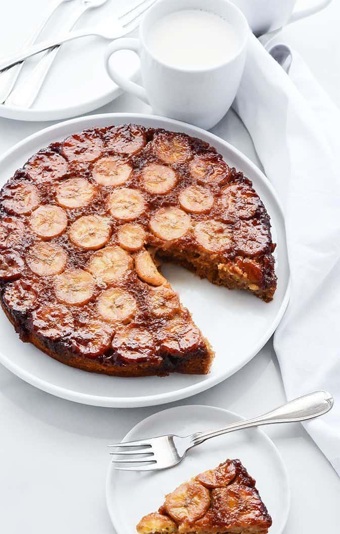 Banana Upside Down Cake (Gluten-Free Vegan)