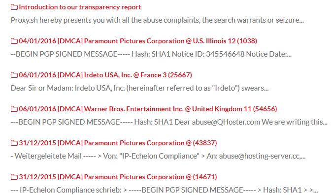 Proxy.sh transparency report