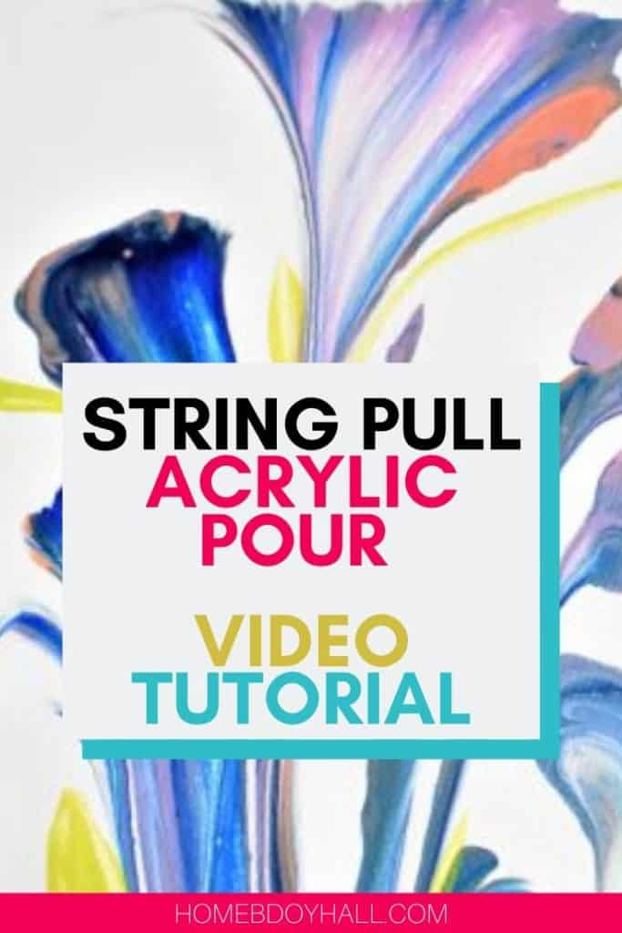 Acrylic pour color theory string pull