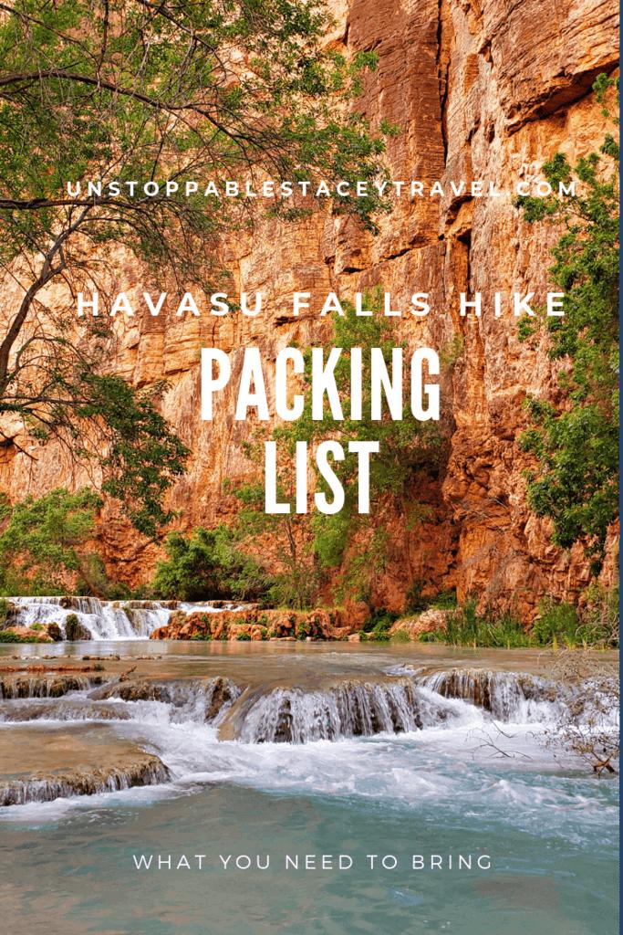 Packing List for Havasu Falls Hike pinterest post