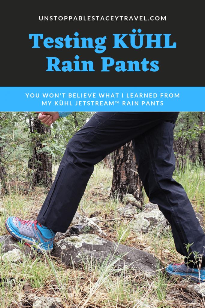 "GRAPHIC that says ""Test KÜHL Rain Pants"""