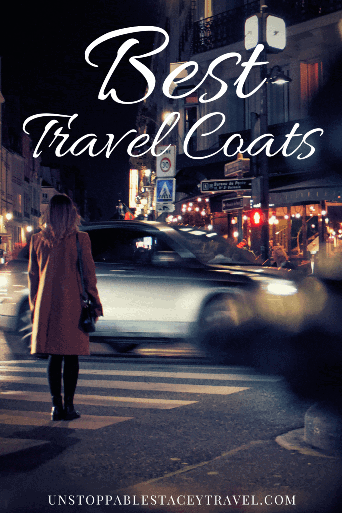 """Pinterest pin: Traveler with best travel jacket stands at crosswalk at night as the lights of the European city whiz by. Text reads"""" Best Travel Coats"""""""