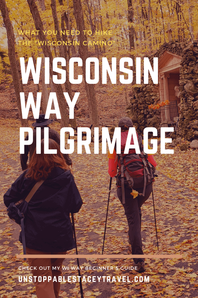 """PIN THIS: Pinterest graphic with the words, """"What you need to know to hike the 'Wisconsin Camino' - WISCONSIN WAY PILGRIMAGE and photo of backs of hikers climbing up road past shrine"""