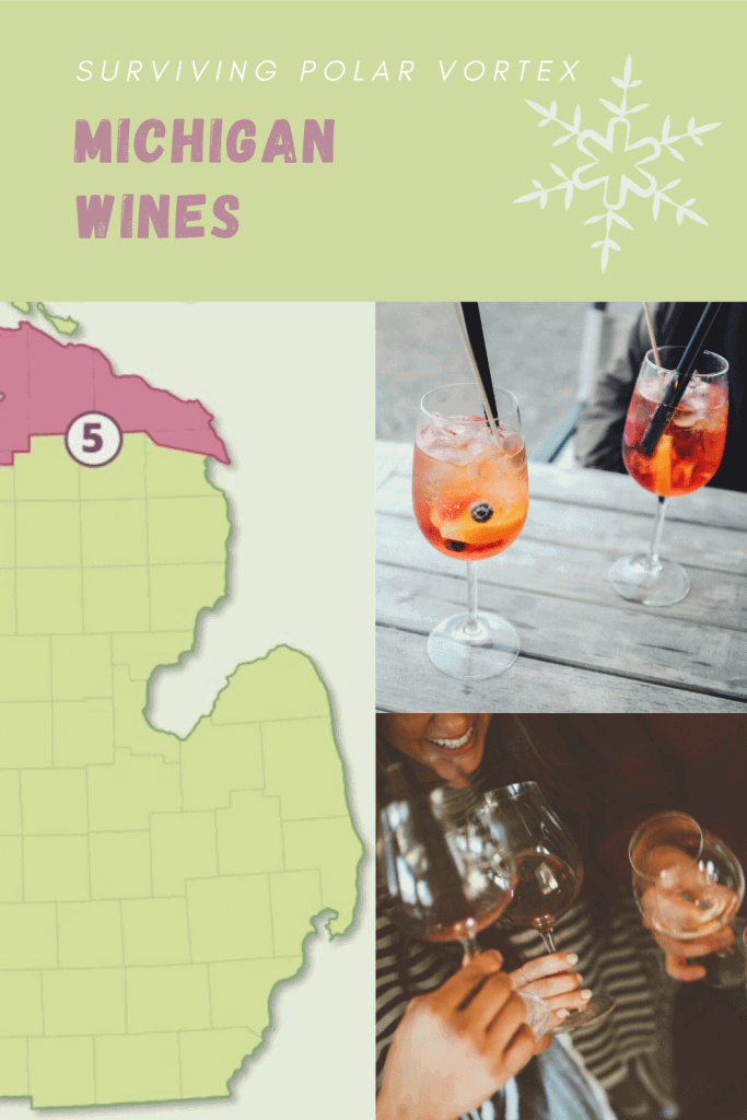 PIN THIS: Pinterest graphic of Michigan Wine Trails and photos of wine glasses