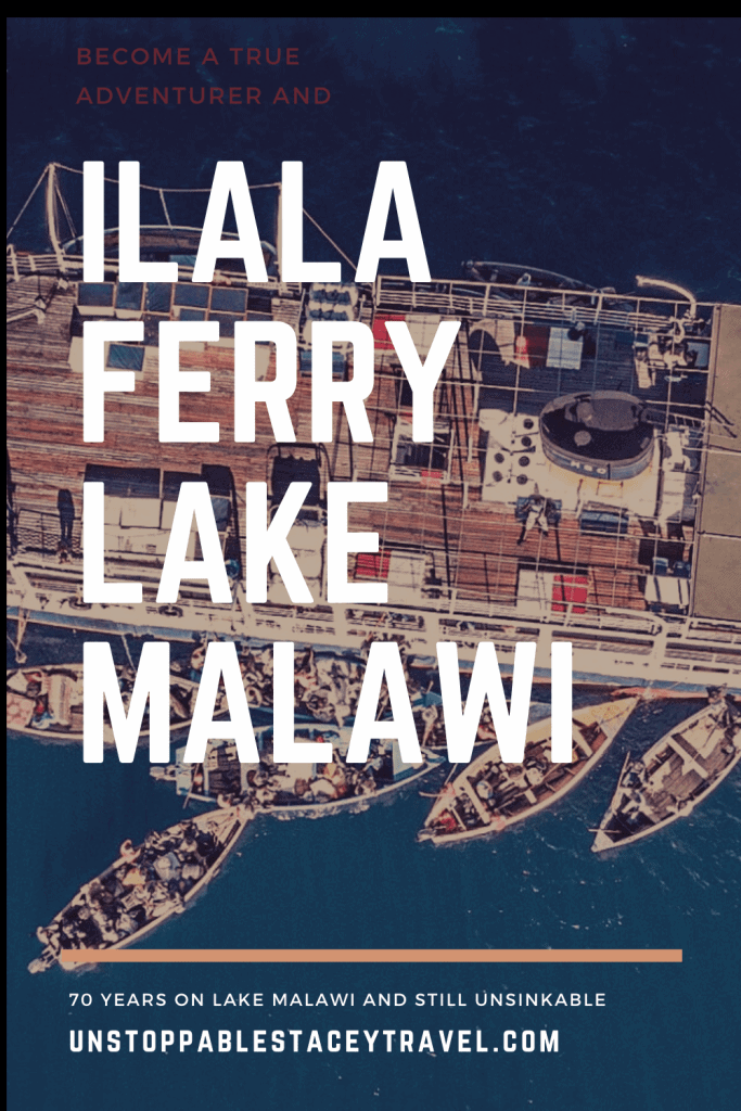 Pinterest pin with text: ILALA FERRY MALAWI over birdseye view shot of steamer