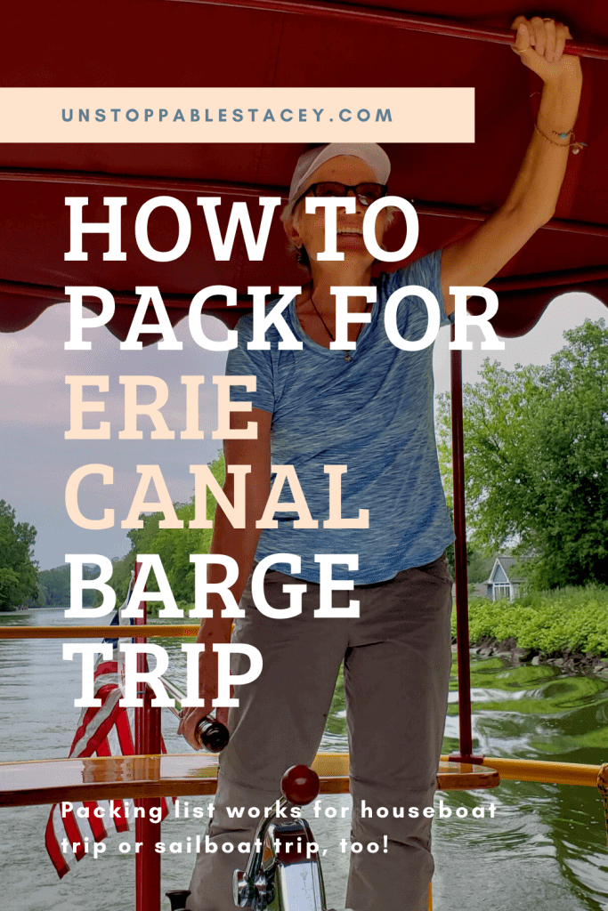 """Pinterest graphics that reads """"List for packing for a trip on erie canal barge"""":"""