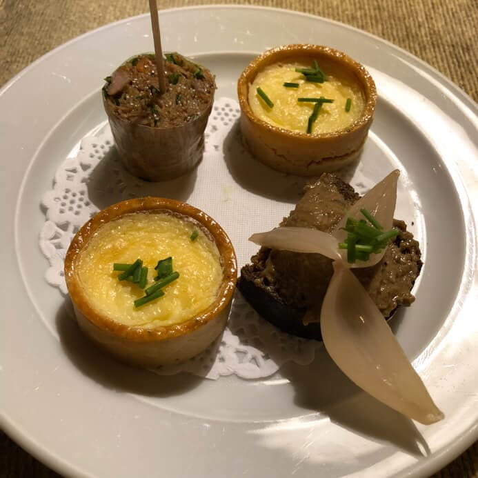 Longueville House Restaurant review - the Valentine's Night canapes before dinner.