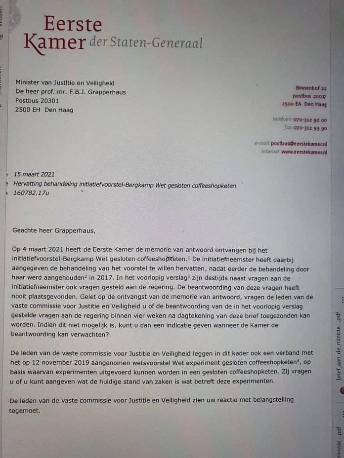 brief eerste kamer wietwet commissie grapperhaus veiligheid en justitie initiatiefvoorstel-Bergkamp Wet gesloten coffeeshopketen