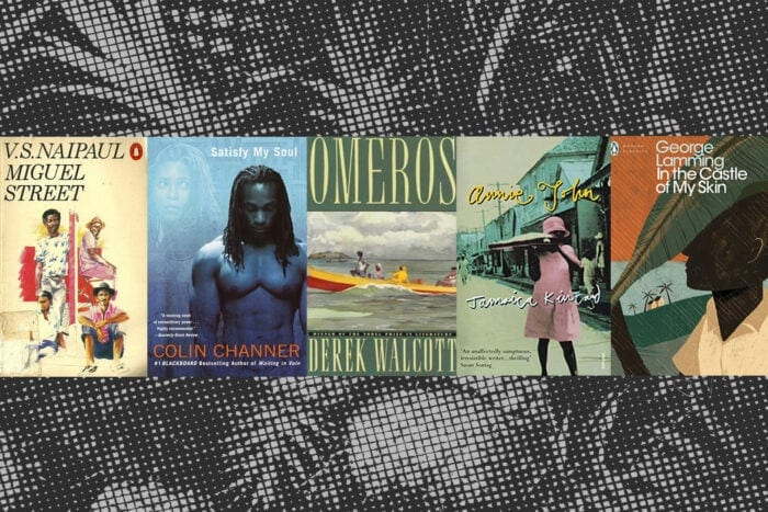 book covers from five authors writing about the Caribbean