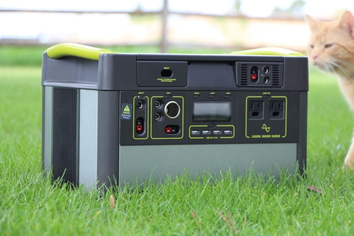Goal Zero Yeti solar generator sitting in the grass