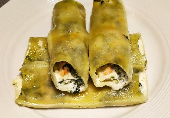 Cannellonis au saumon et aux épinards
