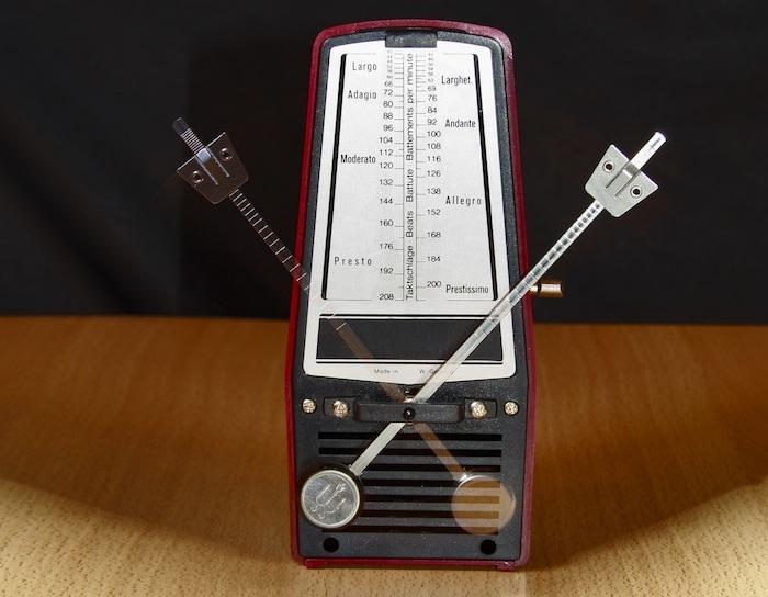 An analog metronome