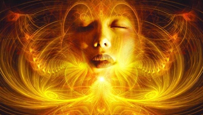 woman radiating golden energy