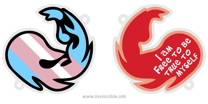 Preview of trans pride charm for the Red colour identity