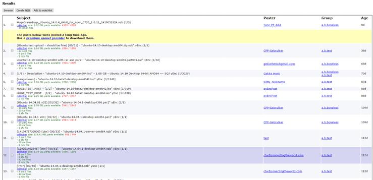 Binsearch Ergebnisse