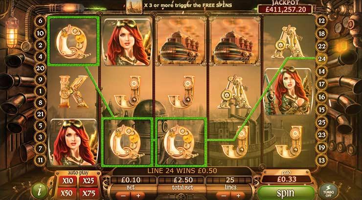 777 Casino free spins on Staempunk Nation