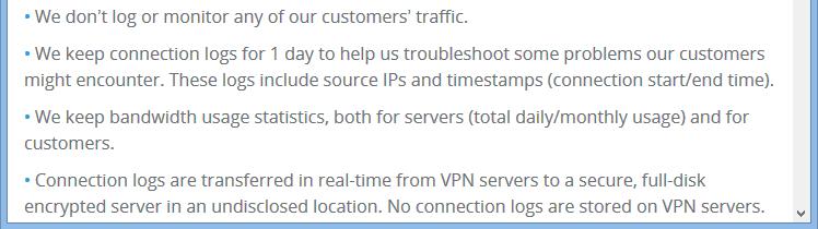 VPNac Log Policy