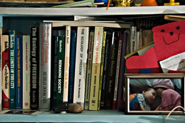 Bookchin's bookshelf is by Phillip Chee. Reproduced under a Creative Commons Attribution-Non-Commercial 2.0 Generic licence