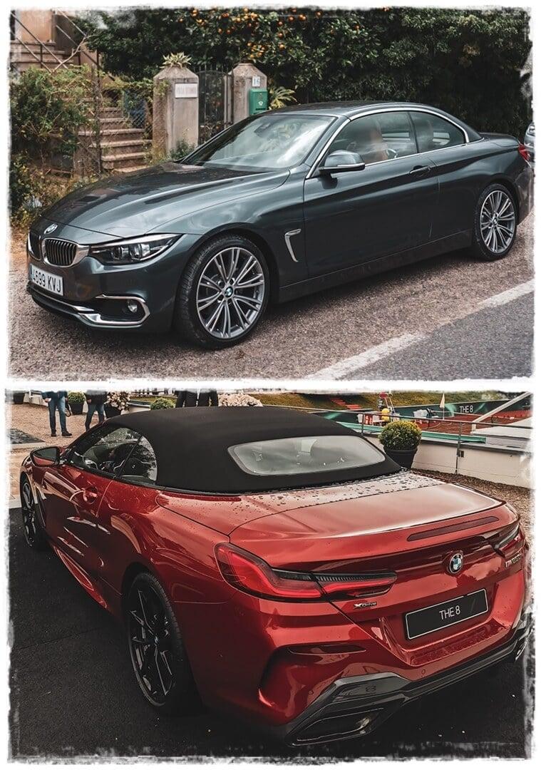 oben: BMW 4er Cabrio mit Hardtop, unten: BMW 8er Cabrio mit Softtop
