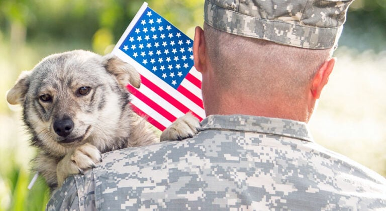 Military Service Member with Dog