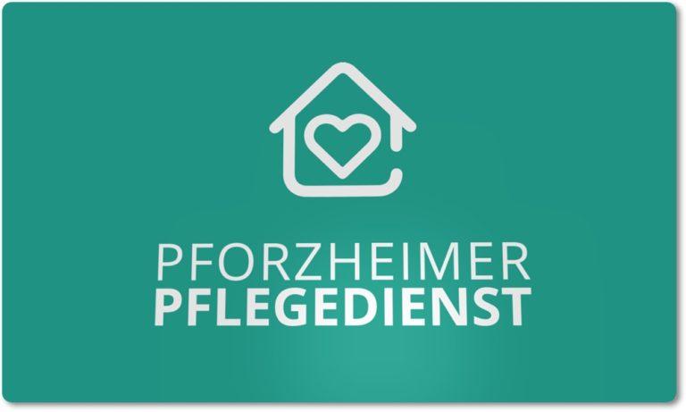 Logo des Pforzheimer Pflegedienstes Hintergrund in Mint-Grün