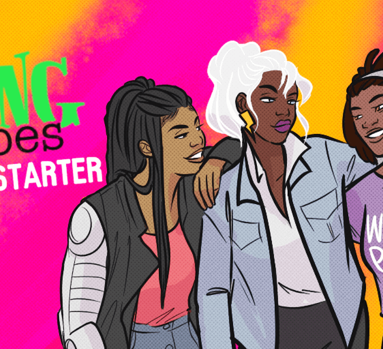 """Illustration from Stephanie Williams' comic series, """"Living Heroes"""" showing four women characters from the series, arm-in-arm and laughing."""