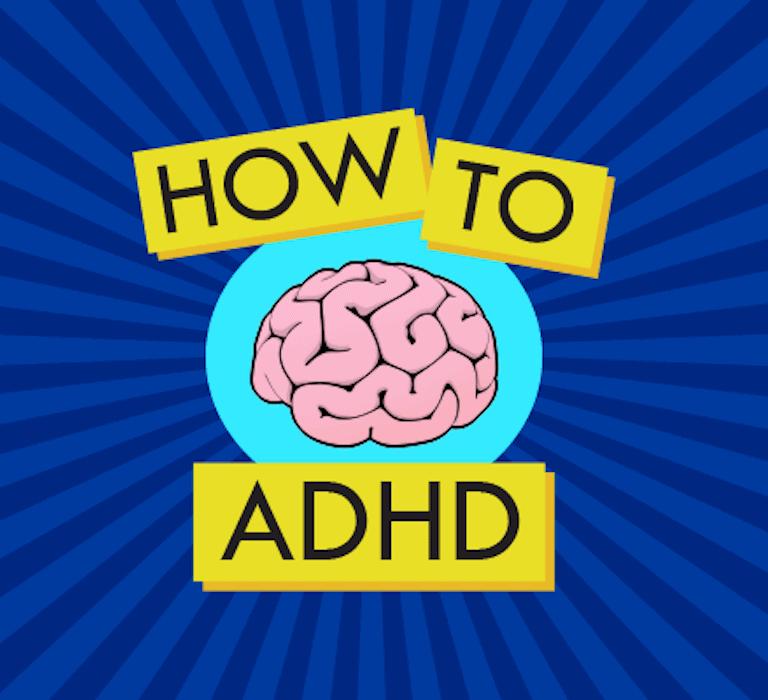 How to ADHD logo, a cartoon-style illustration of a brain.