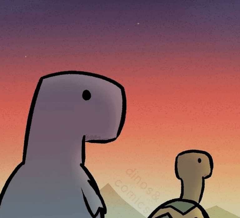 Comic illustration by dinosandcomics of two dinosaurs walking into a sunset