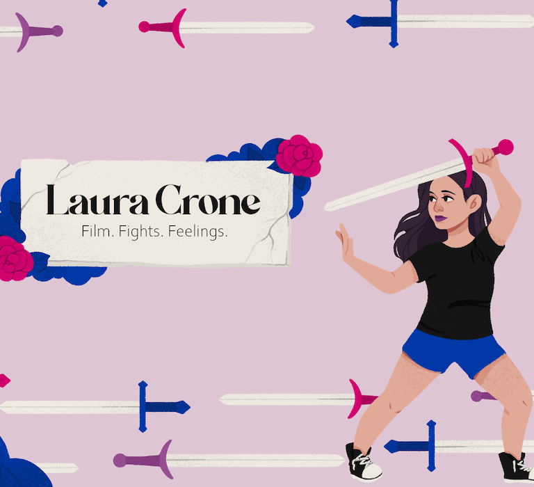 """Header image for video essayist, Laura Crone, which reads """"Film. Fights. Feelings."""" and depicting Laura as a cartoon character wielding a sword."""
