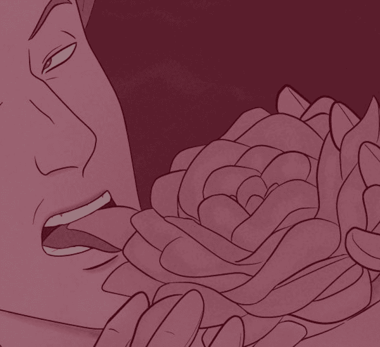 Illustration by Sarah Nelson of a male vampire licking a flower causing some of the petals to fall off.