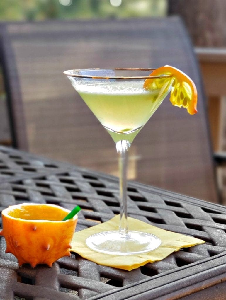 Martini glass with light green drink garnished with kiwano fruit and low ball made of kiwano melon rind