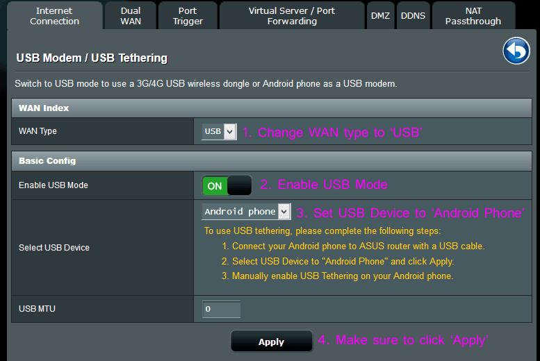 USB Tethering (ASUSWRT)