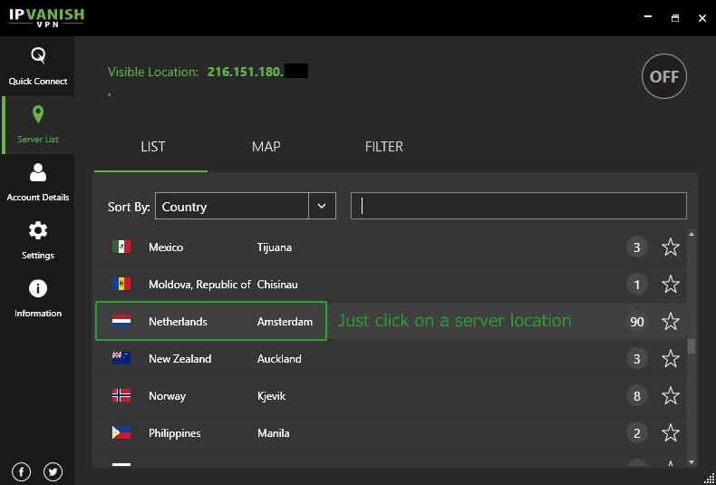 IPVanish server selection menu