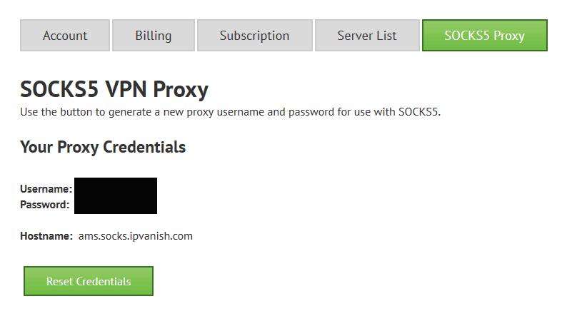 IPVanish socks5 settings in control panel