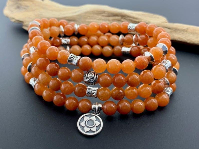 orange mala beads