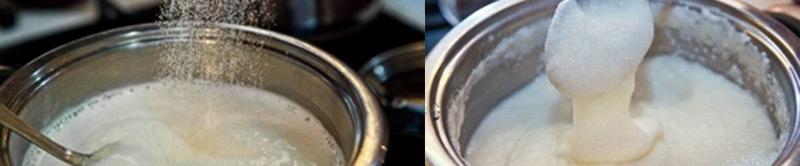 Boiling semolina for cake cream