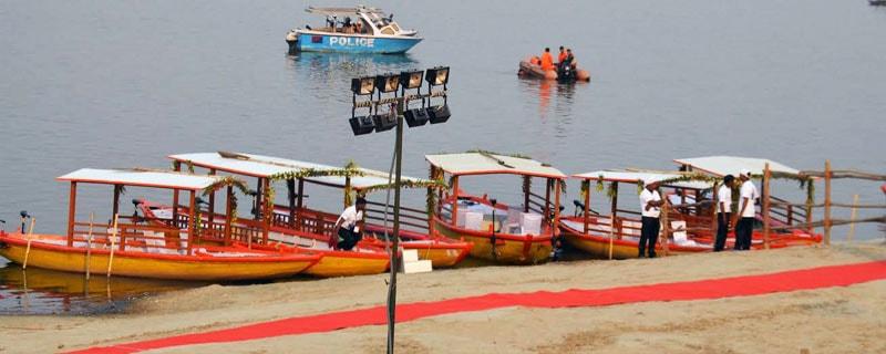E-boats anchored in the river Ganga
