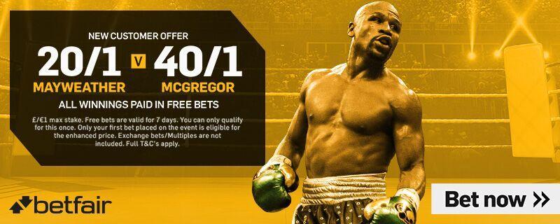 Enhanced Mayweather vs McGregor Odds from Betfair