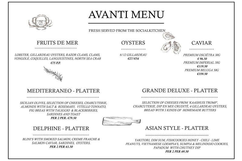 Luxe menukaart Salonboot Avanti