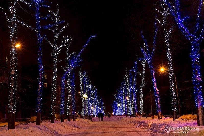 Lenina avenue on New Year night 2017, Yaroslavl