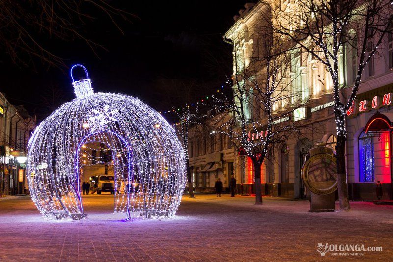 Kirova street on New Year night 2017, Yaroslavl