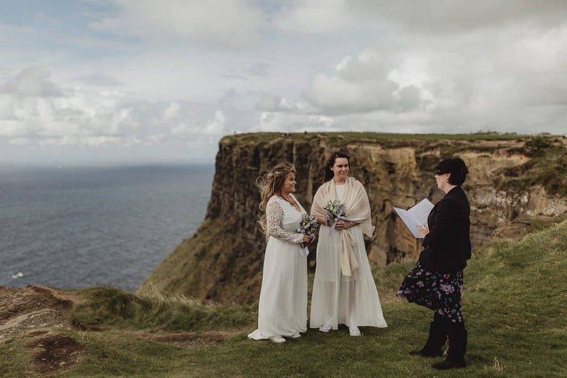 Same Sex Elopement Ceremony on the Cliffs of Moher