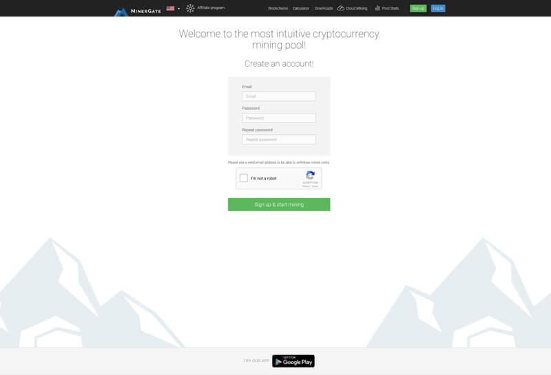 Minergate registration sign up page